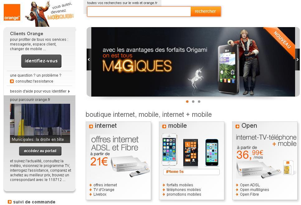 orange.fr Portail Orange Opérateur Mobile Boutique Offre Forfait internet Espace Client Adsl Abonnement
