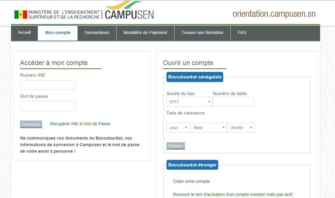 orientation.campusen.sn CAMPUSEN Orientation des nouveaux Bacheliers 2017 au Sénégal accéder à mon compte bourse inscription en ligne