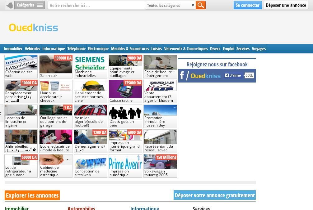 ouedkniss.com Annonces gratuites en Algérie Automobiles Immobilier Oued kniss$ auto wad kniss immo wedknisse wad knis$