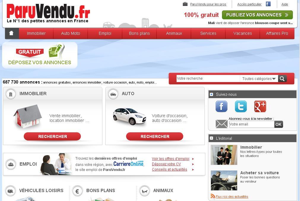 paruvendu.fr Annonces gratuites immobilier Location Occasion Auto Moto Emploi