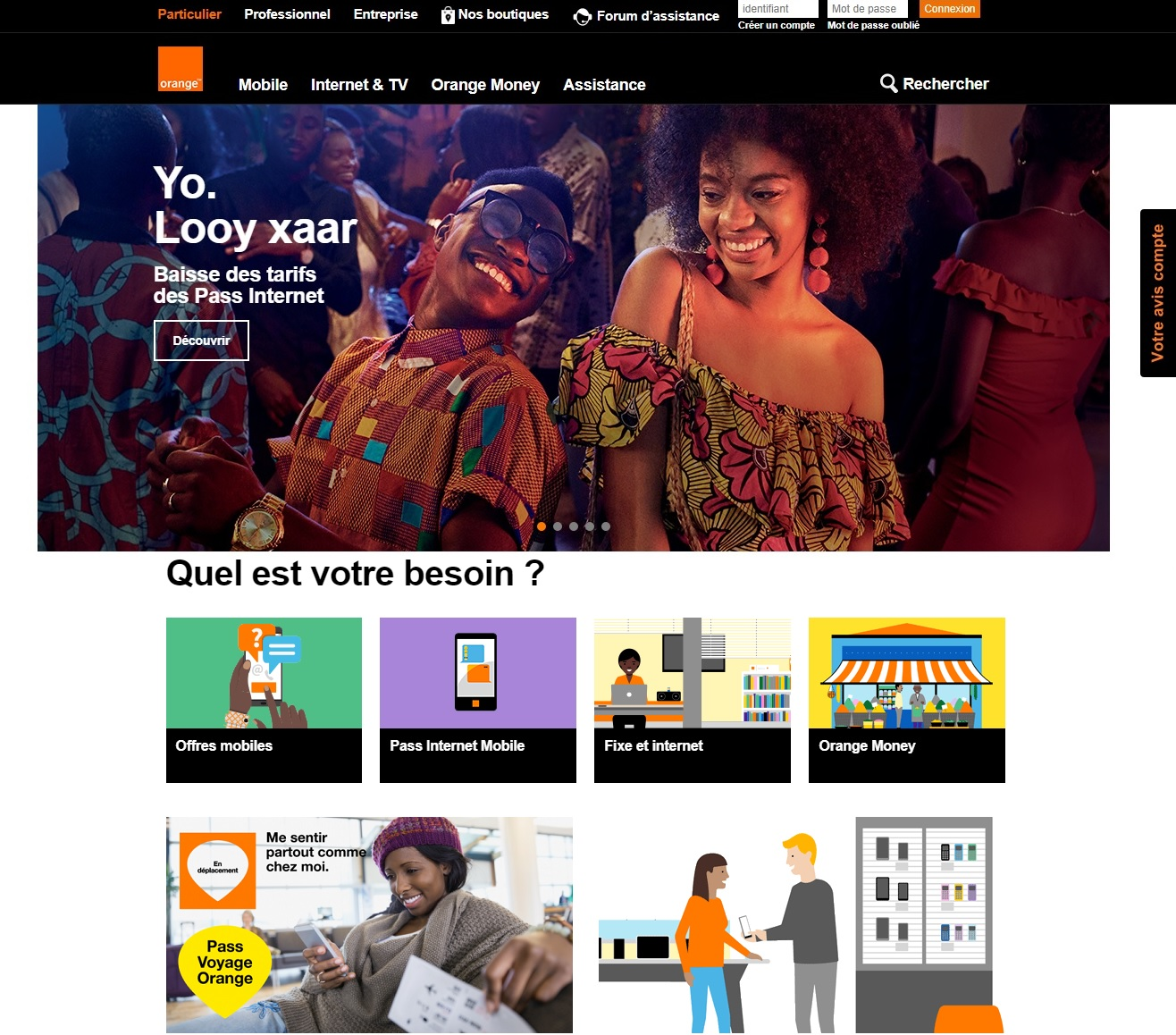 passorange.sn.orange Les pass Internet mobile Orange Sénégal achat suivi consommation passe