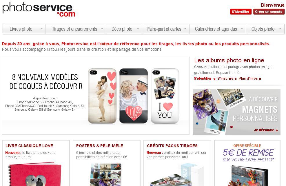 photoservice.com impression photo et tirage en ligne Photos Services code promo calendrier avis création livre orange images