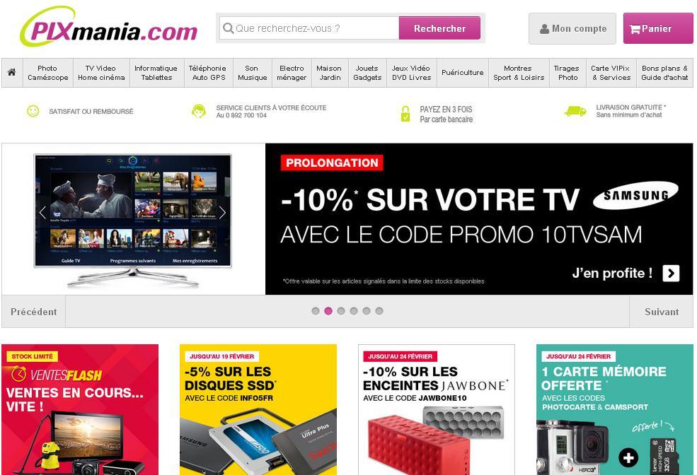 pixmania.fr Pro achat en ligne Matériel informatique Appareil Photo Electroménager code promo