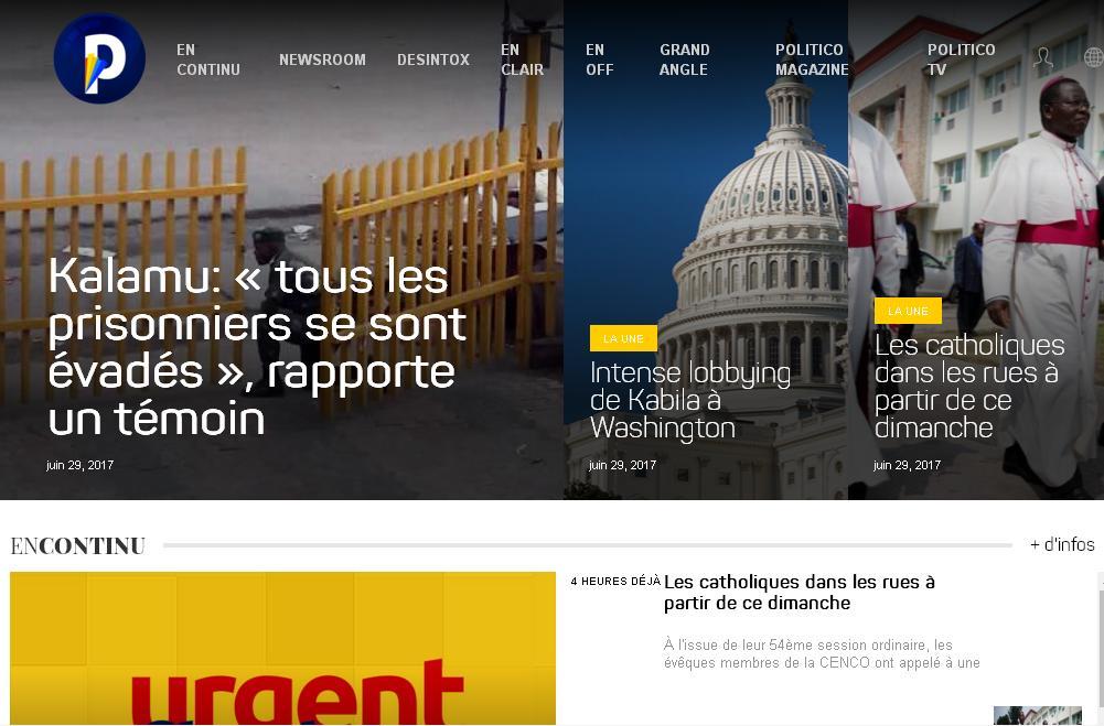 politico.cd  L'actualité politique de la République démocratique du Congo, Europe France Belgique et Angola