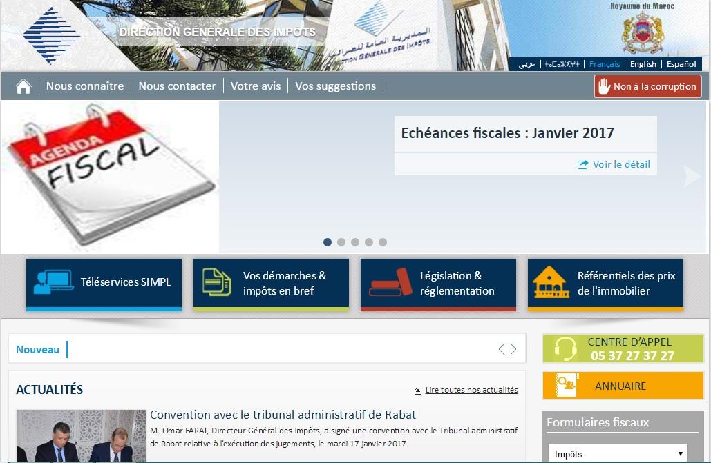 portail.tax.gov.ma Direction Générale Des Impots Maroc Taxes Déclaration Revenu Imposable Formulaires Fiscaux Impot Tva Taxe Gov Ma