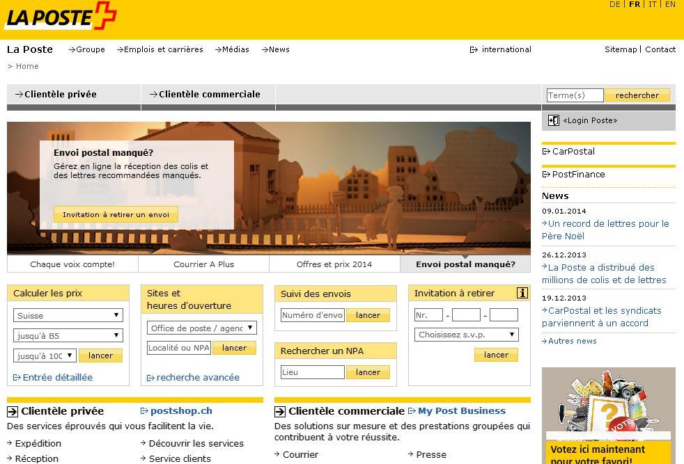 poste.ch La poste Suisse Shop Prix Colis horaire recevoir sa