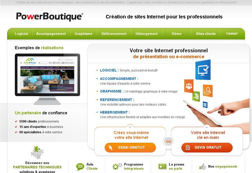 powerboutique.com créer un site Internet création boutique e-commerce site web avis sas connexion back tamplate