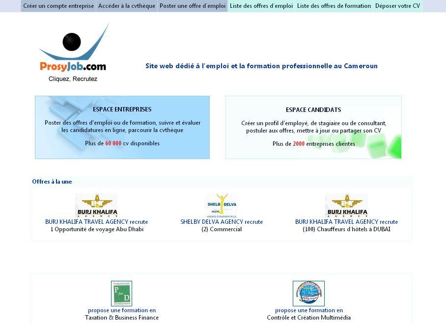 prosyjob.com Recrutement, offres et demande d'emploi au Cameroun Prosy job ex Camdev travail et formation cm
