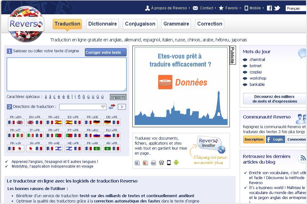 reverso.net Traducteur en Ligne Translate Langue Anglais Français Dictionnaire Correcteur