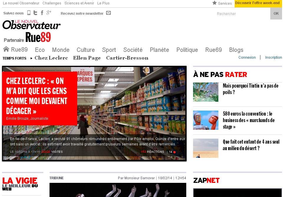 rue89.com actualité Média France Monde Nouvel Obs wiki eco sport alleurs