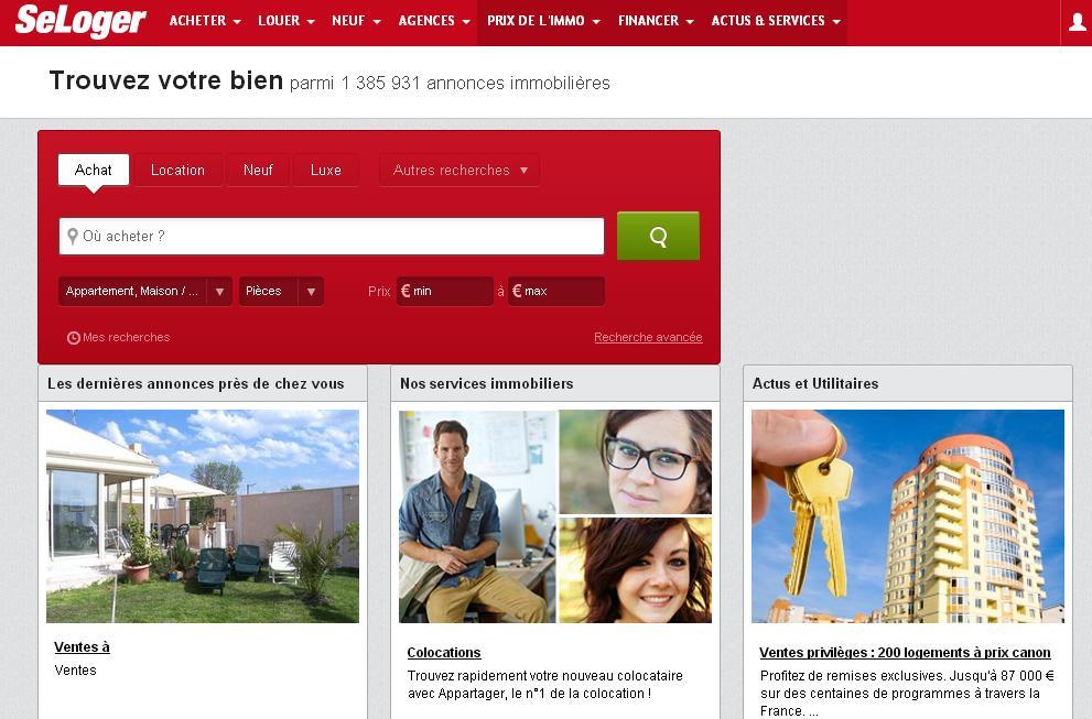 seloger.com Se loger annonces immo france Paris location vacances