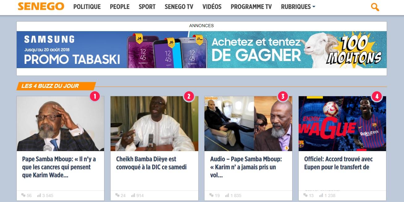 senego.com Actualité Au Sénégal 2stv rtg rti rts tfm video foot net