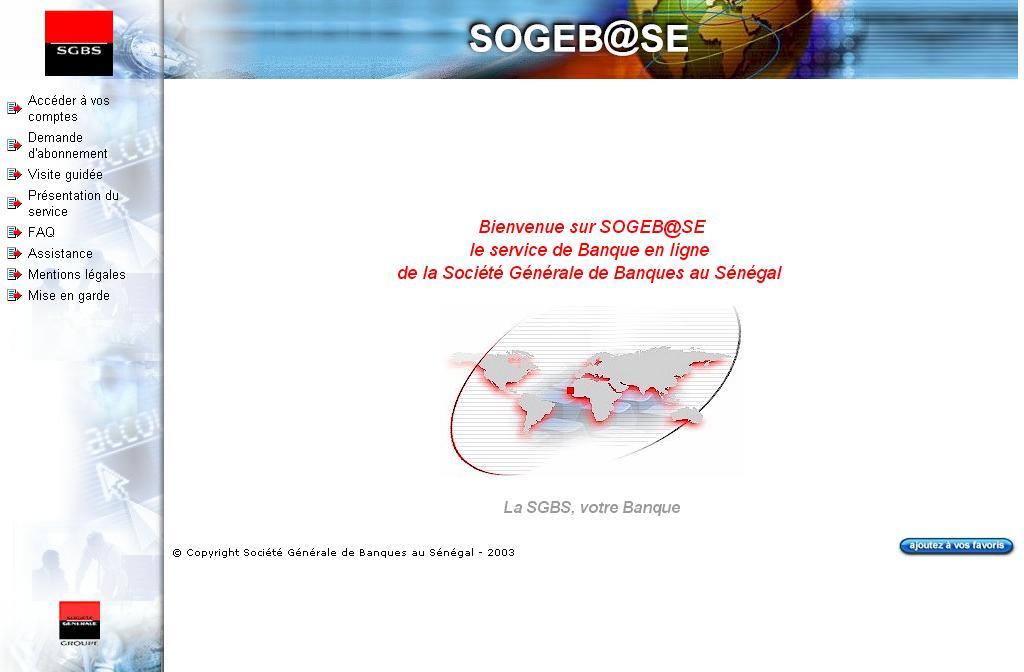 sgbsonline.sn Banque en ligne Société générale Sénégal sgbs crédit assurance bank online
