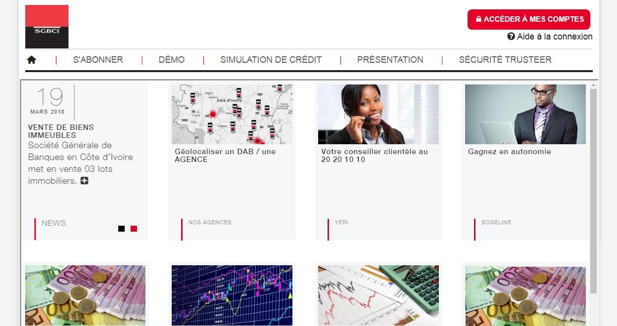 sogeline.ci Société Générale de Banque Cote d'Ivoire abidjan identification sogé online fr sgbci compte en ligne
