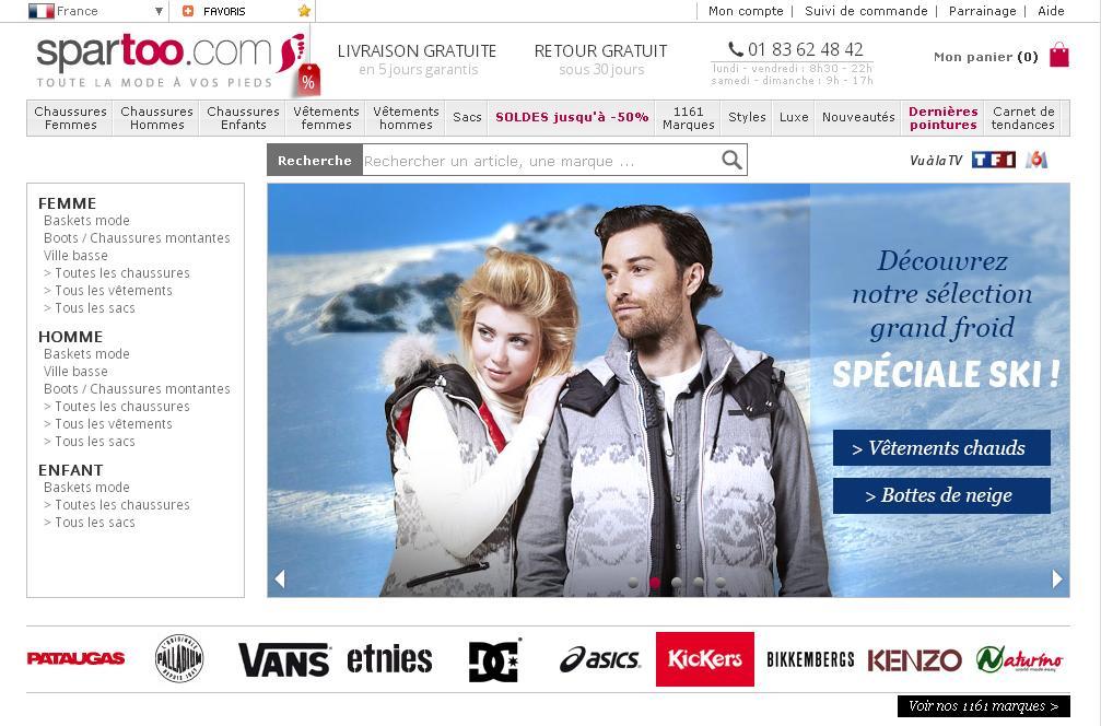 spartoo.com Chaussures homme femme sport Solde Code Promo Réduction
