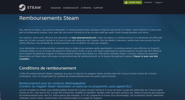 store.steampowered.com Demande de remboursement Steam jeu gaming durée 14 jours et 2h et support