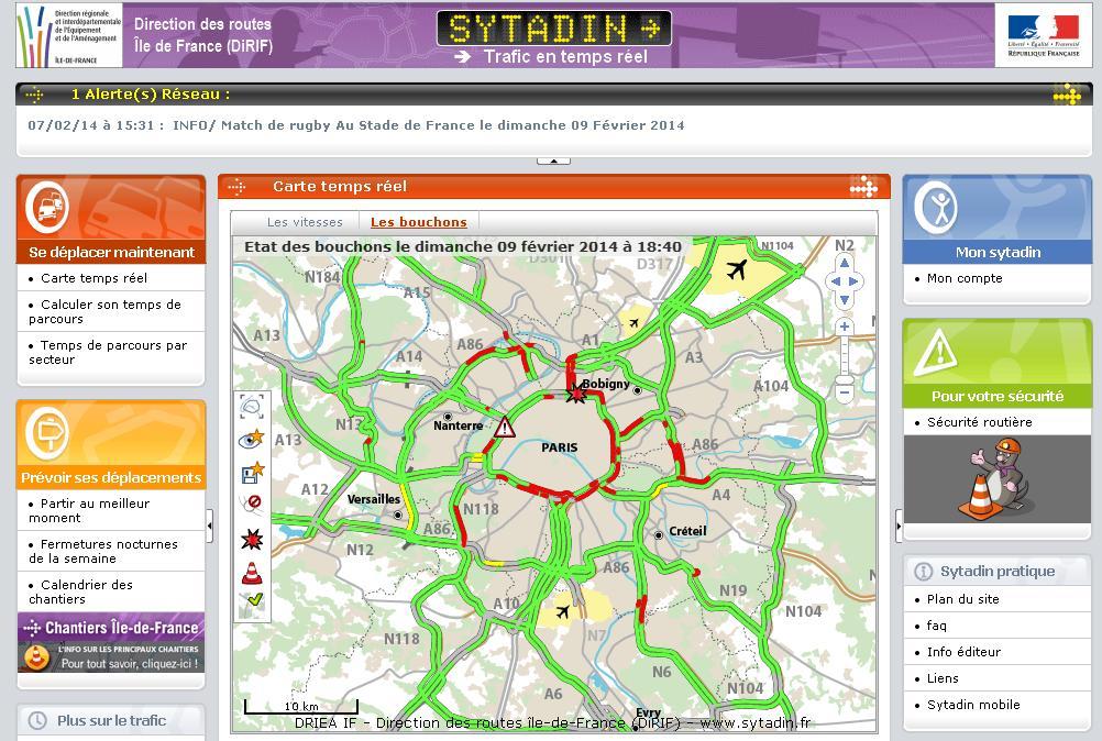 sytadin.fr Traffic en Île-de-France en temps réel paris idf sytadine wap historique GPS cytadin