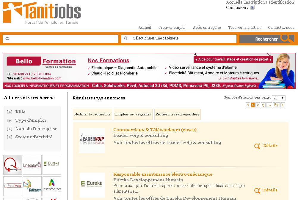 tanitjobs.com Annonces Emploi Tanit job Tunisie formation stage offre travail concours tanitjob tn