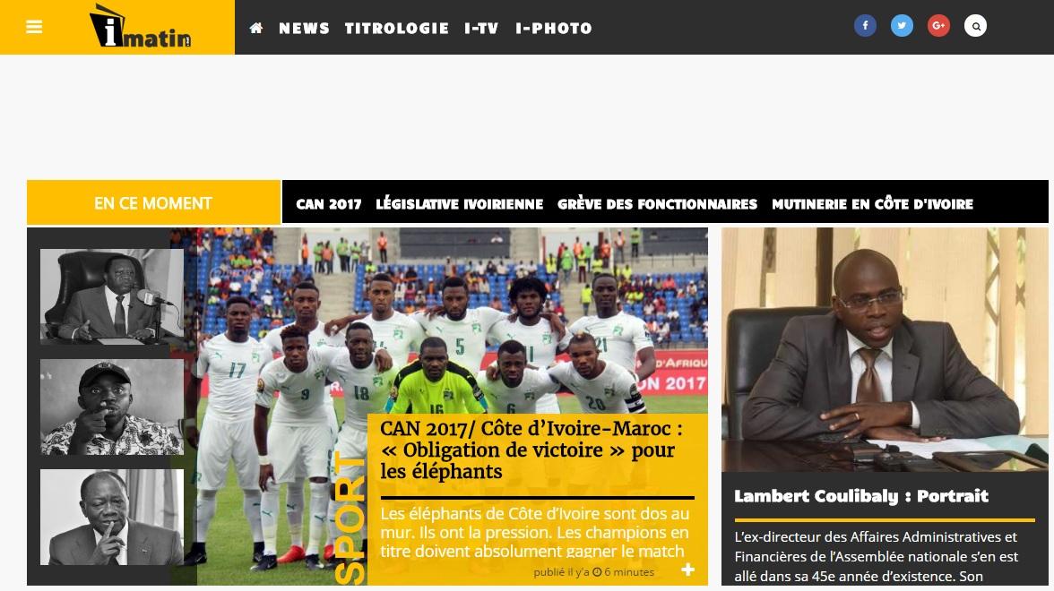 titrologie.imatin.net Journal i-matin ivoirienne actualité du jour au cote d'ivoire titrologie d'aujourd'hui abidjan ci