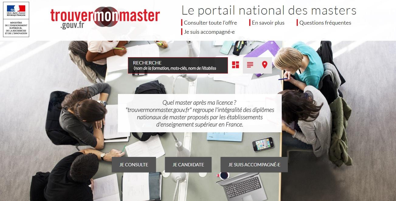 trouvermonmaster.gouv.fr Le portail national des masters France trouver un master recherche liste master's téléservice