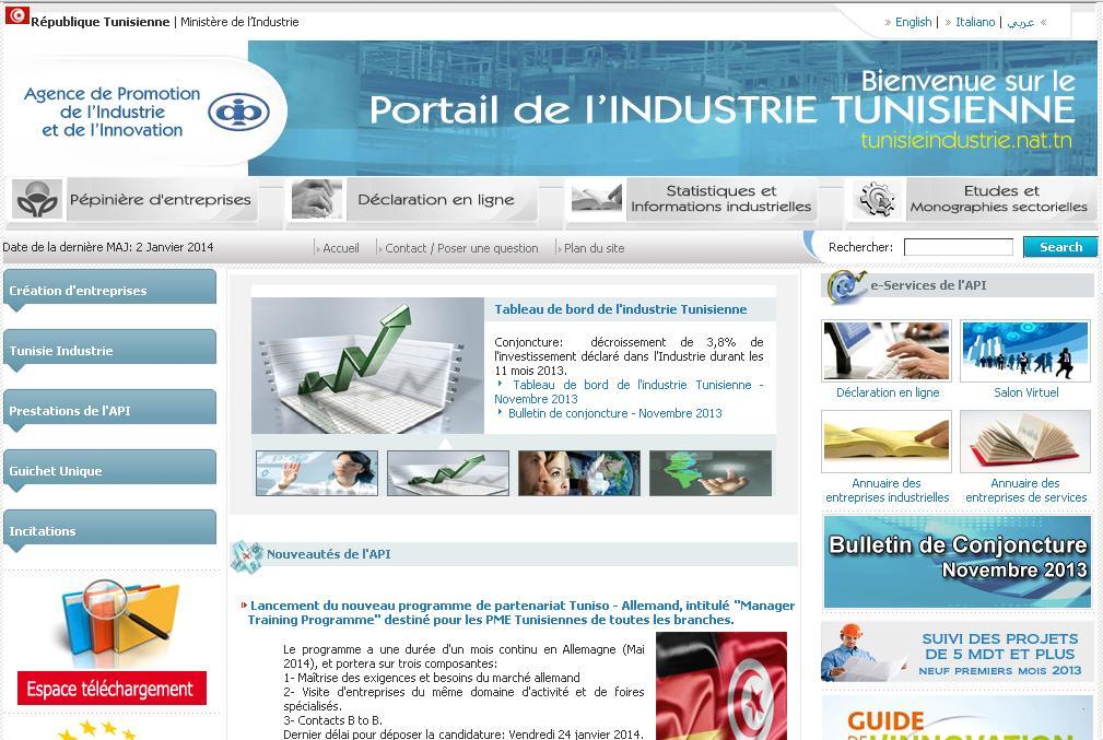 tunisieindustrie.nat.tn Agence de promotion de l'industrie Tunisienne API