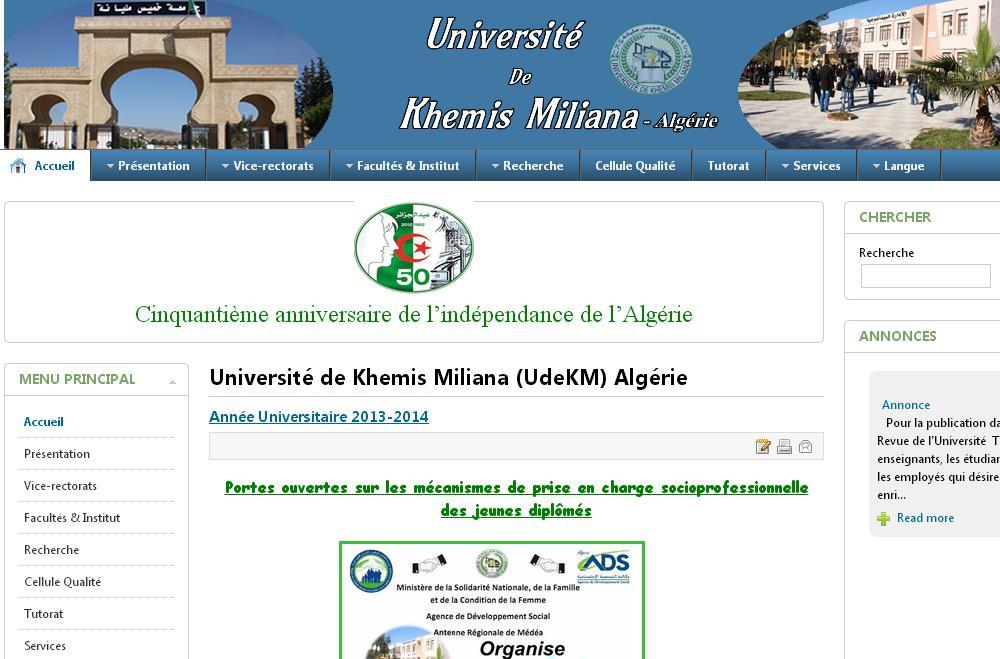 univ-km.dz Université de Khemis Miliana Algérie Bejaia