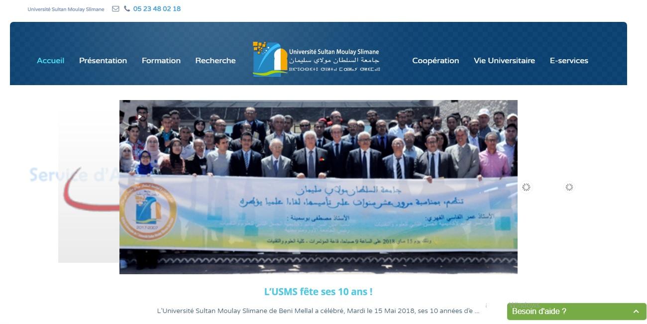 usms.ac.ma Université Sultan Moulay Slimane جامعة السلطان مولاي سليمان بني ملال Béni Mellal Maroc 2018