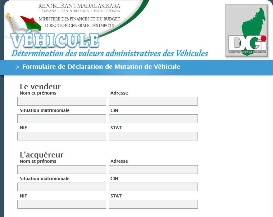 vehicule.impots.mg Madagascar taxe de circulation véhicule de société et particulier tvs tvts voiture roulage co2