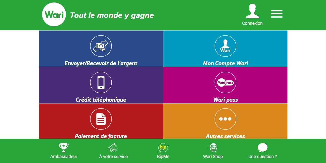 warime.com Transfert d'argent sécurisé en ligne MyWari Sénégal