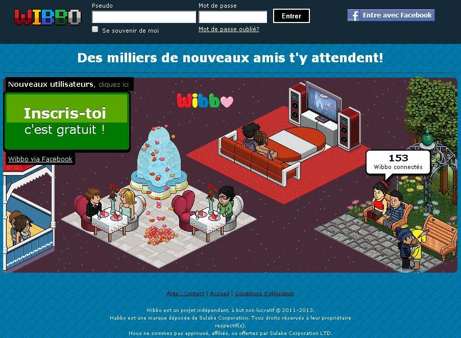 wibbo.fr Jeux avatar Appartement Hôtel Soccer code jetons inscription Wibo station